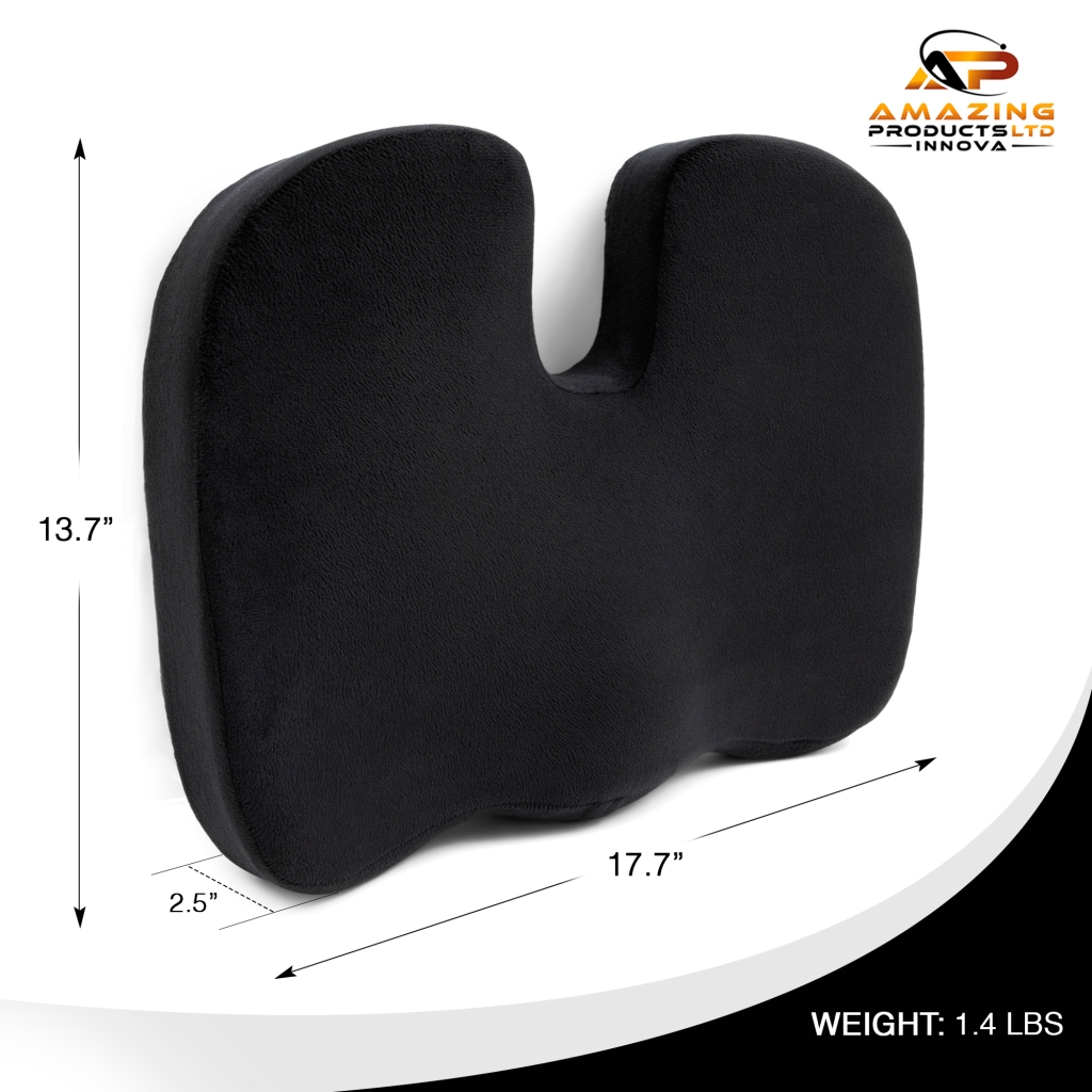 A U-shaped 100% memory foam seat cushion designed to help with coccyx pain or tailbone pain. When seating on the chair at home or in the office or in a public place, car seat, stadium seat, wheel chair, this cushion has a U-shape design to help avoid direct painful contact against the coccyx area. This cushion feature an outer zippered pillow case that's ultra sleek and soft and feels minky to the touch. The pillow case is removable, easy to clean and machine washable. The entire coccyx cushion dotes a U-shaped design, making the entire set ergonomic and perfect for contouring to any body shape and size.