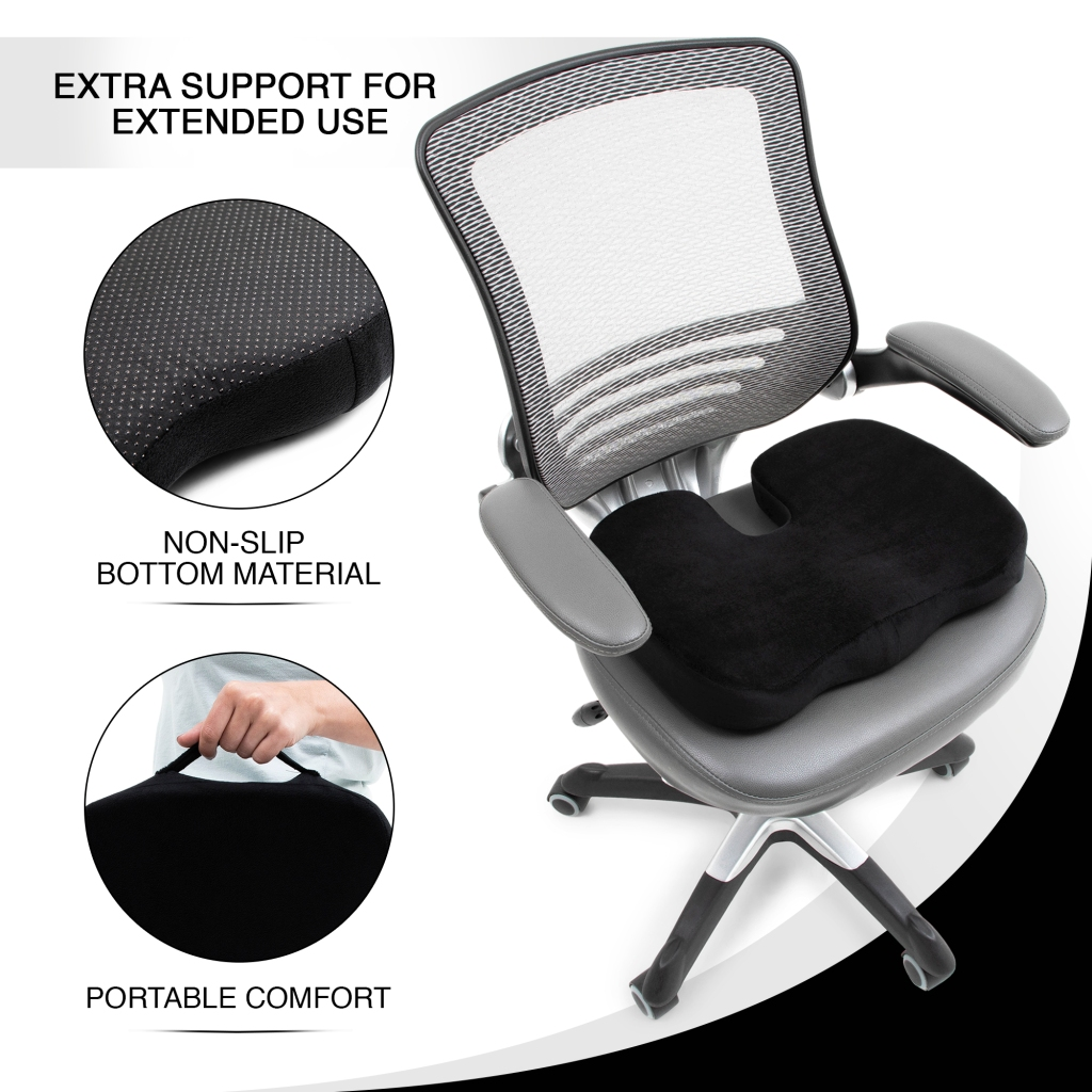 image of the memory foam seat cushion placed on the office chair
